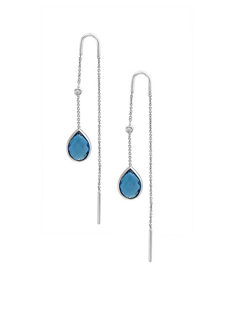 Effy® Sterling Silver Diamond Long Blue Earrings