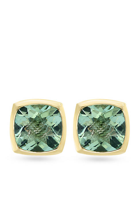 Effy® Sterling Silver Green Amethyst Earrings With Gold