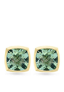 Sterling Silver Green Amethyst Earrings With Gold Plating