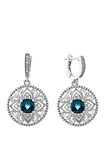 Effy® London Blue Topaz and White Sapphire Earrings in 925 Sterling Silver