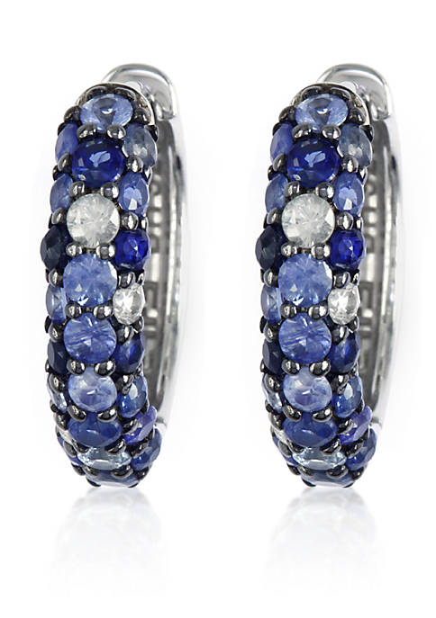 Sapphire Hoop Earrings in Sterling Silver