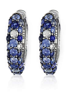Sapphire Hoop Earrings in Sterling Silver