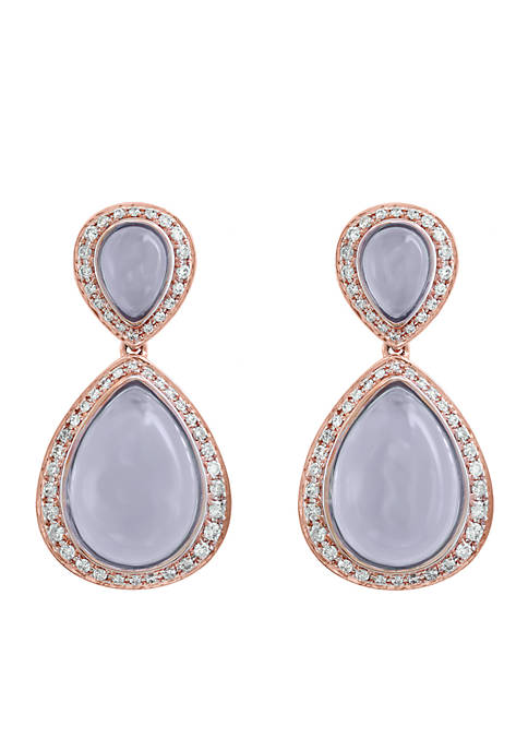 Effy® 14K Rose Gold Diamond And Chalcedony Earrings