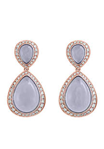 14K Rose Gold Diamond And Chalcedony Earrings