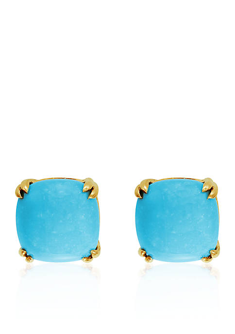 Effy® Turquoise Cushion Stud Earrings in 14K Yellow