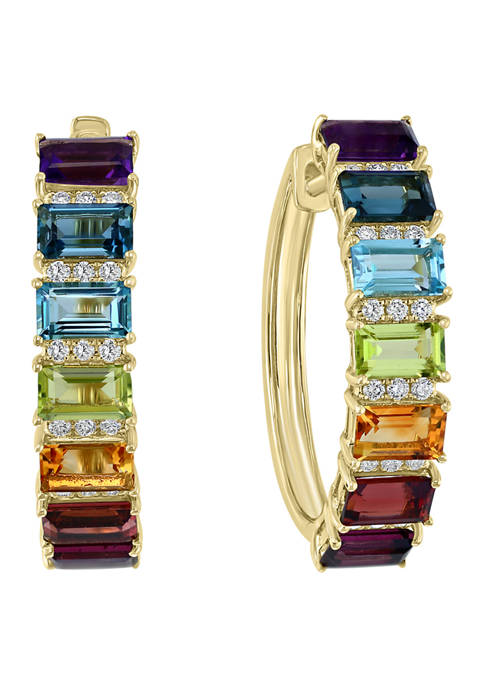 1/4 ct. t.w. Diamond and 5.25 ct. t.w. Multi-Color Stone Hoop Earrings in 14K Yellow Gold