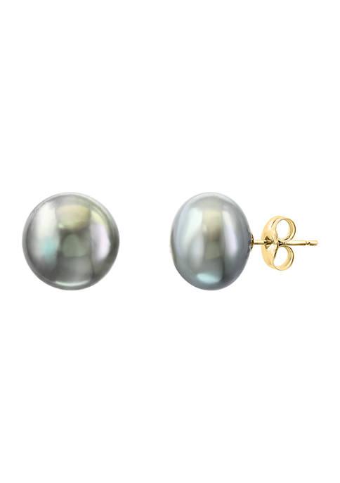 Freshwater Pearl stud Earrings in 14K Yellow Gold