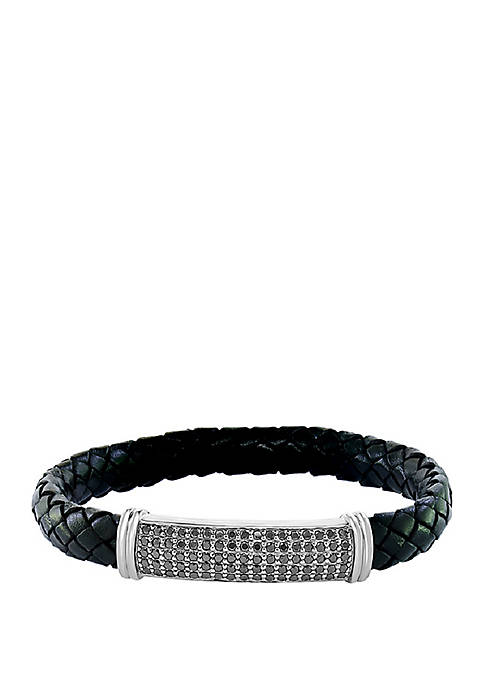 2.5 ct. t.w. Black Spinel  Bracelet in Sterling Silver and Black Leather