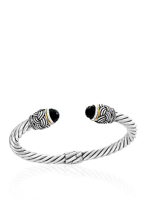 Effy® Onyx Hinged Cuff Bangle Bracelet in Sterling