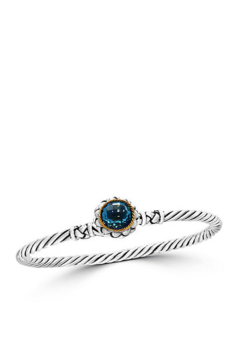 Effy® Sterling Silver/18k Yellow Gold Blue Topaz Bangle