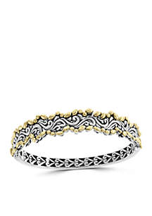 Bangle Bracelet in Sterling Silver and 18k Yellow Gold