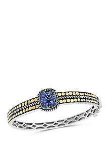 Effy® 1.85 ct. t.w. Tanzanite Bangle in 925 Sterling Silver/18k Yellow Gold