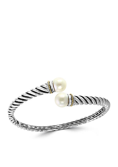 Freshwater Pearl Bracelet in Sterling Silver and 18k Yellow Gold