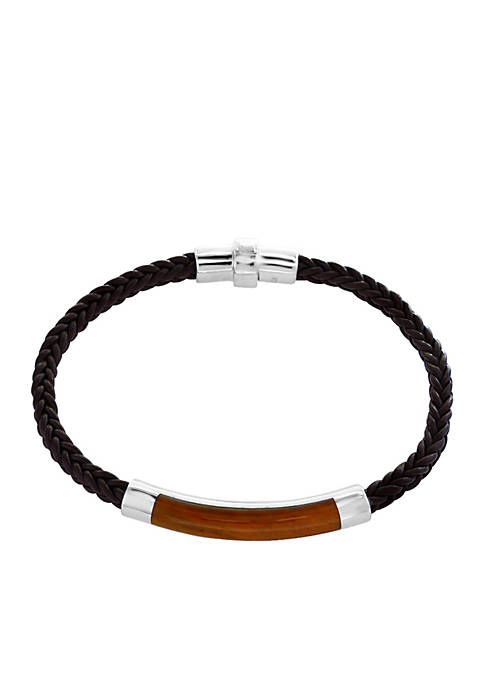 Effy® Mens Sterling Silver Tiger Eye and Braided