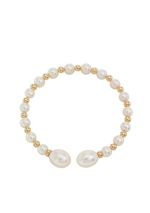 Freshwater Pearl Bangle Bracelet in 14k Yellow Gold