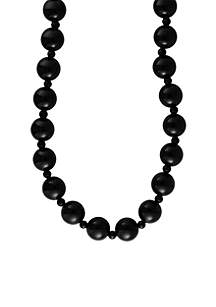 Onyx Beaded Necklace in 14K Yellow Gold