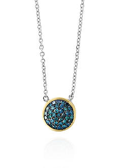 Effy® 0.27 ct. t.w. Blue Diamond Pendant Necklace in Sterling Silver with 14k Yellow Gold