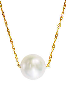 14k Yellow Gold Freshwater Pearl Pendant Necklace