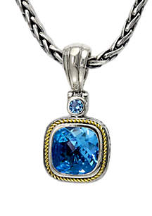 Effy® Blue Topaz Pendant in Sterling Silver/18k Yellow Gold