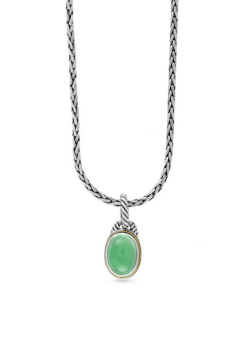 Effy® Sterling Silver Jade Oval Pendant Necklace