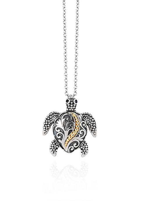Effy® 0.01 ct. t.w. Diamond Turtle Pendant Necklace