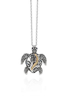 Effy® 0.01 ct. t.w. Diamond Turtle Pendant Necklace in Sterling Silver with 18k Yellow Gold