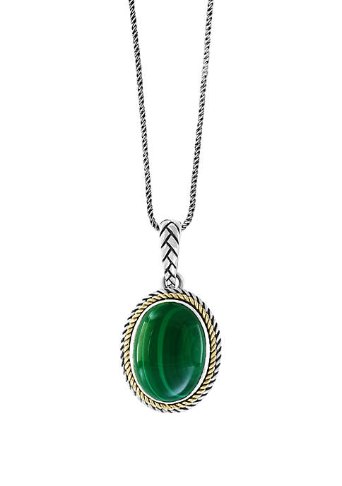 Malachite Pendant Necklace in Sterling Silver and 18k Yellow Gold