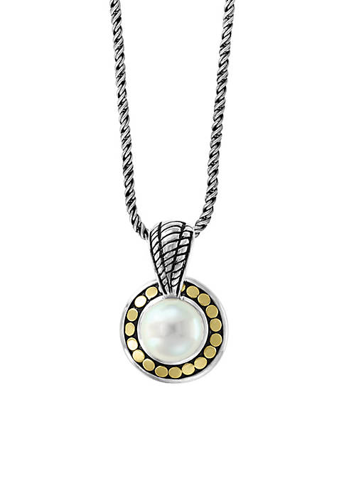 Freshwater Pearl Pendant Necklace in Sterling Silver and 18k Yellow Gold