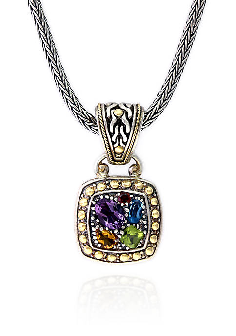 Multi Colored Pendant in Sterling Silver and 18K Yellow Gold
