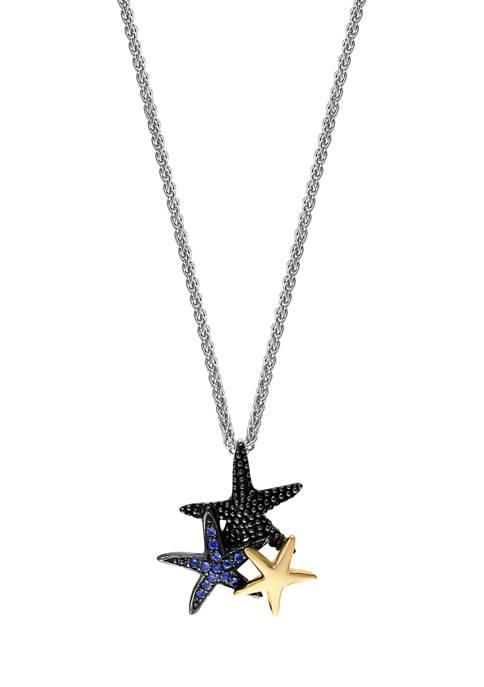 Effy® 1/8 ct. t.w. Sapphire Starfish Pendant Necklace
