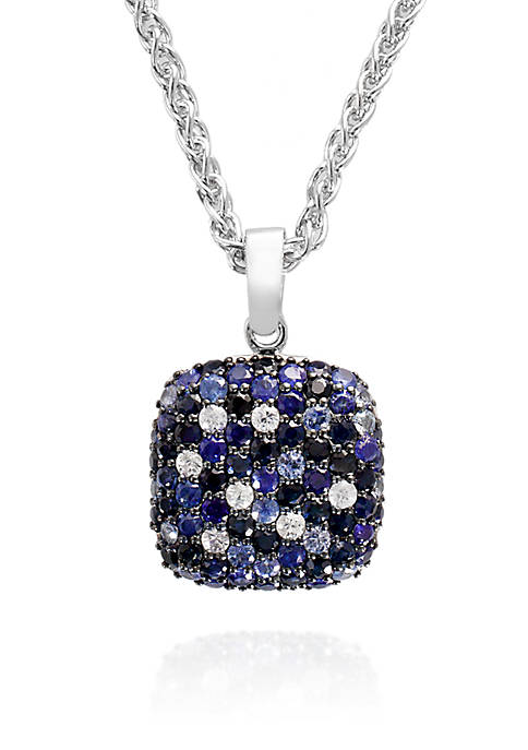 Sapphire Pendant Necklace in Sterling Silver