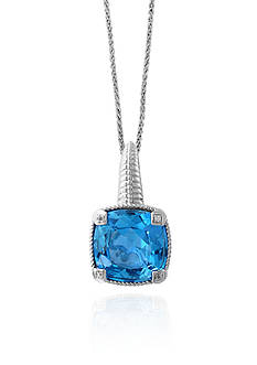 Effy® Blue Topaz and White Sapphire Pendant in Sterling Silver