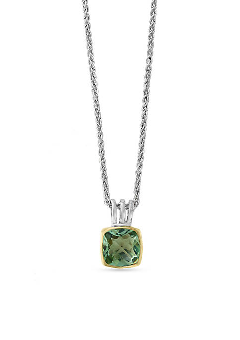 Effy® Sterling Silver Green Amethyst Pendant Necklace