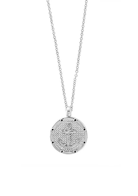 Effy® Mens Sterling Silver Black Sapphire Anchor Disc