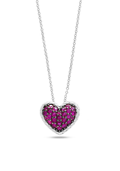 Effy 174 Sterling Silver Ruby Heart With Black Rhodium