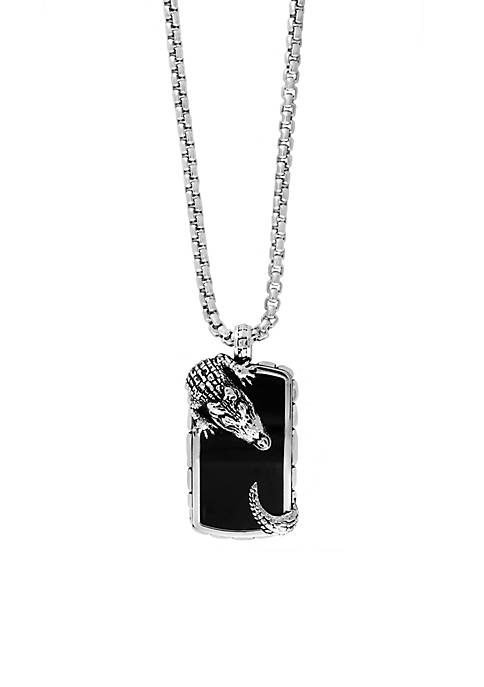Effy® Mens Sterling Silver Onyx Alligator Pendant Necklace