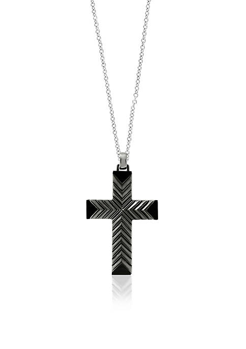 Effy® Sterling Silver Black Rhodium Cross Pendant Necklace