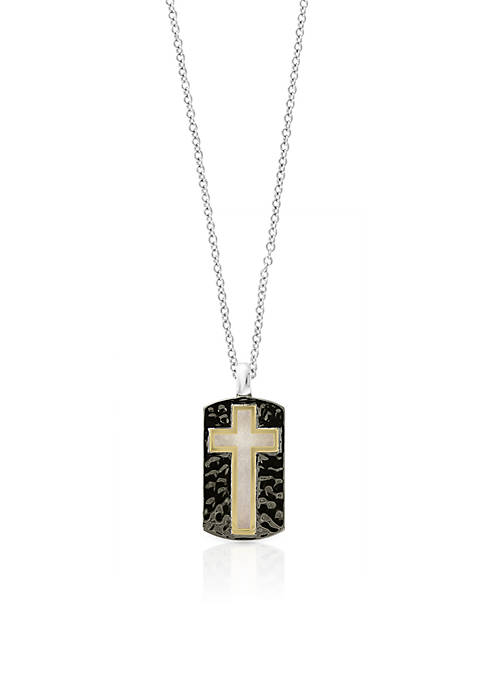 Effy® Mens Sterling Silver Black Rhodium Cross Pendant