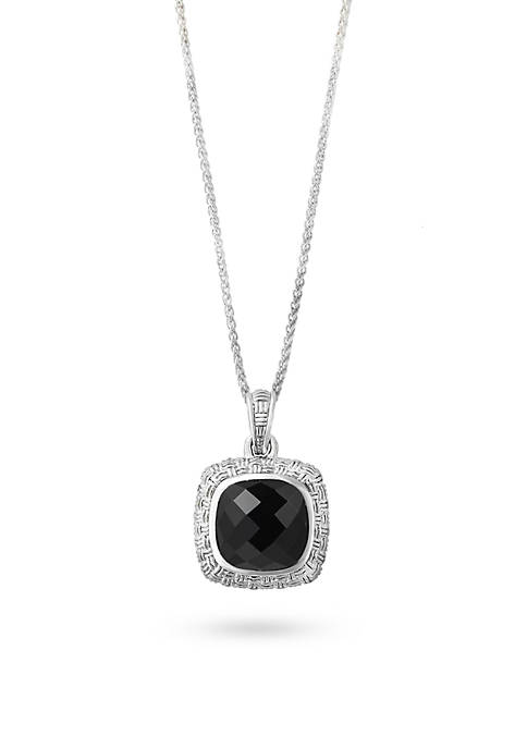 Effy® Sterling Silver Onyx Pendant Necklace