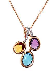 14k Rose Gold Multi Stone and Diamond Pendant Necklace