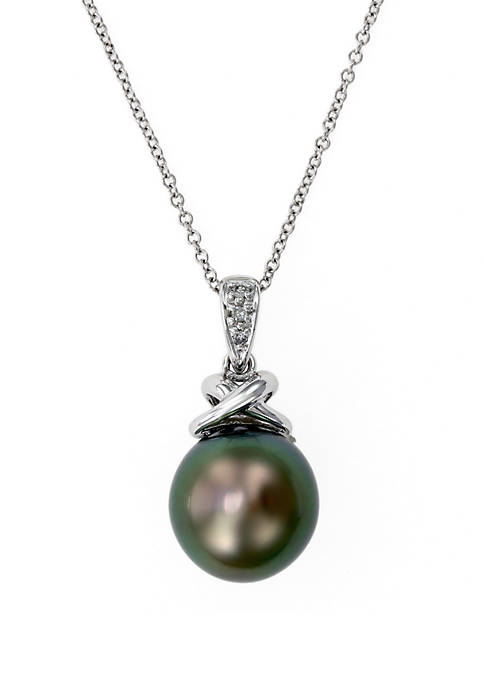 Tahitian Pearl with Diamond Pendant in 14k White Gold