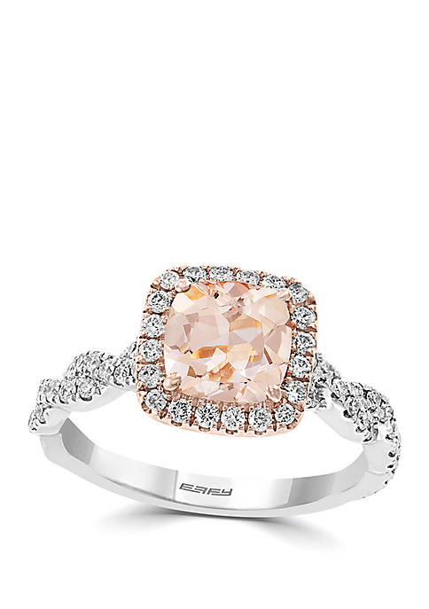 1.15 ct. t.w. Morganite and 1/2 ct. t.w. Diamond Ring in 14k Rose and White Gold