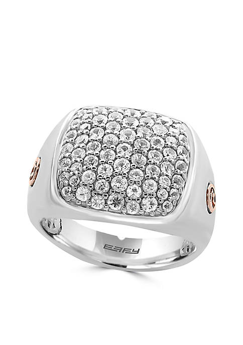 Effy® Mens White Sapphire Ring in Sterling Silver