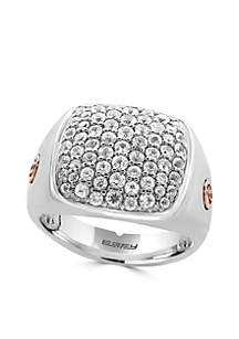 Men's White Sapphire Ring in Sterling Silver and 18k Rose Gold