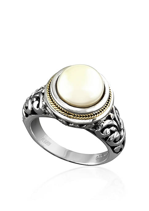 Round Freshwater Pearl Ring in Sterling Silver