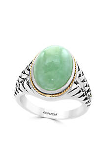 Sterling Silver 18K Yellow Gold Oval Jade Ring
