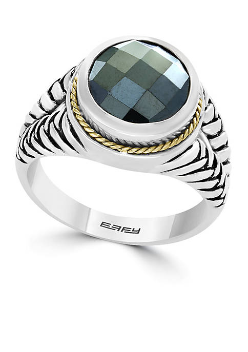Effy® Sterling Silver and Yellow Gold Hematite Ring