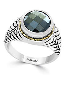 Sterling Silver and Yellow Gold Hematite Ring