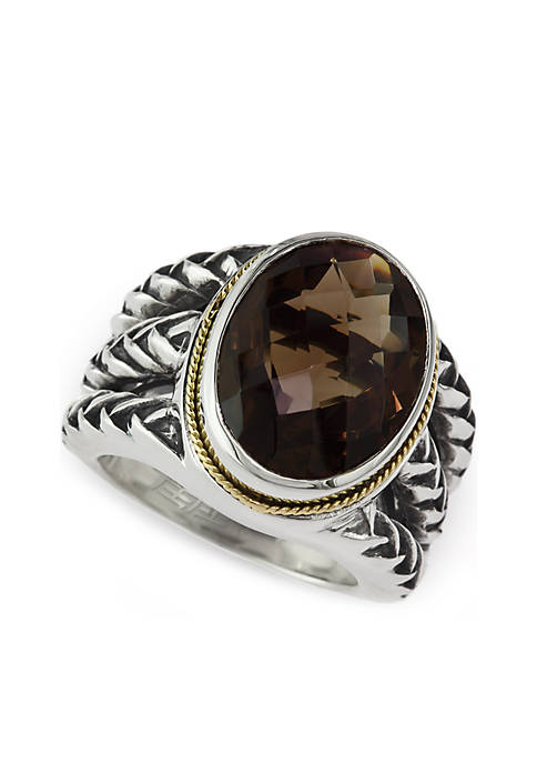 Smoky Quartz Ring in 925 Sterling Silver And 18K Yellow Gold