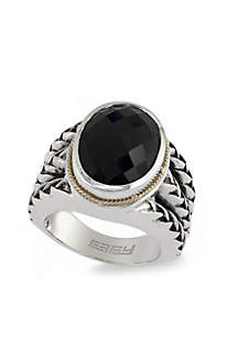 Oval Cut Onyx Ring in Sterling Silver & 18K Yellow Gold
